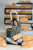 Young entrepreneur, teenager business owner work at home strechi royalty free stock photography