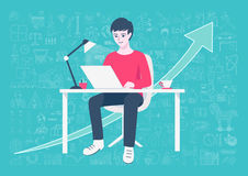 Young entrepreneur working on online business from home on his home working table with hand drawn business icons and arrow backgro Royalty Free Stock Images