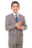 The young entrepreneurs were justified buttoned shirt. Isolated on white background Royalty Free Stock Photo
