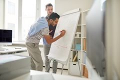 Young Entrepreneurs Writing on Whiteboard royalty free stock photos
