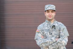 Young ethnic American soldier headshot stock photography