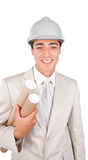 Young ethnic architect wearing a hardhat Stock Photography