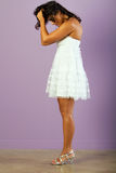 Young ethnic woman with beautiful white dress Royalty Free Stock Images