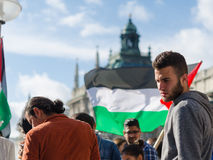 Young European activists at the Palestinian demonstration stock images