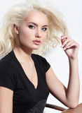 Young European attractive model with long blond  hair, full lips Royalty Free Stock Photography