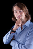 Young european business man with long hair Stock Photo