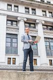 Young European Businessman traveling, working in New York City stock photos