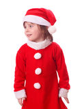 Young european girl in red santa dress Stock Images