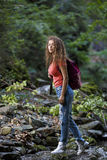 Young European woman hiker by the river Stock Photography