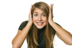 Excited girl holding head in her hands, Royalty Free Stock Photo