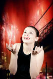 Young excited woman looking up Royalty Free Stock Photos