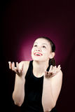 Young excited woman looking up Royalty Free Stock Images