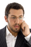 Young executive busy with phone call Stock Photo