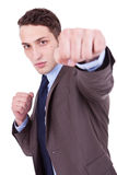 Young executive in fight pose Royalty Free Stock Image
