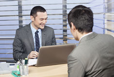 Young executive is happy with the results. Concept stock image