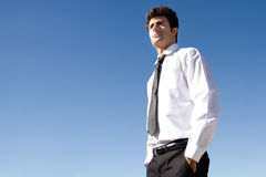 Young executive man looking at the horizon Royalty Free Stock Photos