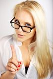 Young Executive Pointing Her Finger Royalty Free Stock Photo