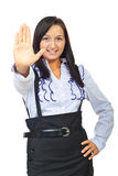 Young executive woman with stop hand gesture Stock Photo