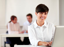 Young executive woman working with her laptop Royalty Free Stock Photos