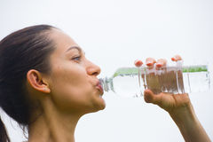 Young exercising woman drinking water Stock Images