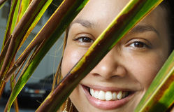Young exotic female. Young woman with a palm frond in the foreground Royalty Free Stock Images