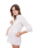 Young expectant mother on white background Royalty Free Stock Photos