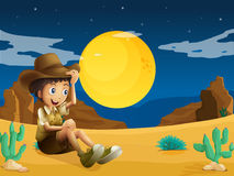 A young explorer at the dessert Stock Photos