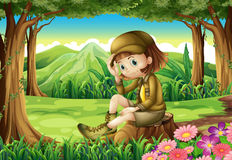 A young explorer at the forest Royalty Free Stock Photos