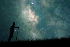 Free Young Explorer Looking To Star On Sky At Night Stock Images - 119429644