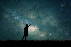 Free Young Explorer Looking To Star On Sky At Night Royalty Free Stock Image - 119429646
