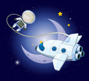 A young explorer near the moon. Illustration of a young explorer near the moon Stock Photography