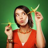 Young expression woman with paper bird Stock Photography