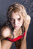 Young expressive beauty woman with water droplets Stock Photo