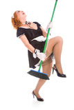 Young expressive housemaid Royalty Free Stock Photos