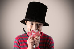 Young expressive magician Stock Photo