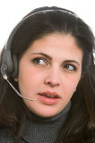 Woman with headset Royalty Free Stock Photography