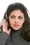 Woman with headset Royalty Free Stock Photo