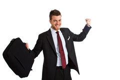 Young exultant businessman Stock Photo