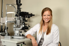 Young Eye Doctor in her office Stock Photos
