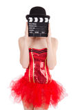 Young fairy with clapperboard isolated Stock Photos