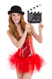 Young fairy with clapperboard isolated Stock Images