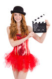 Young fairy with clapperboard isolated Stock Photography