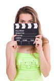 Young fairy with clapperboard isolated Stock Image
