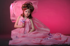 A young fairy in pink Stock Photography