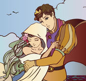 Young fairy tale couple of lovers hugging vector Royalty Free Stock Photography
