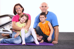 Young family. Youn family in a sport center Royalty Free Stock Photo