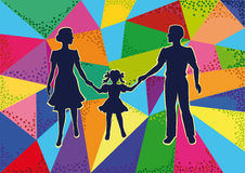 Young family. Vector silhouettes walking a young family with a child on a bright mosaic background Stock Photography