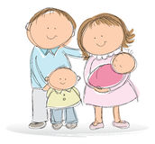 Young family. Hand drawn picture of young family, illustrated in a loose style. Mom, dad, son and baby daughter. Vector eps available Royalty Free Stock Photo