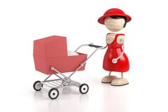 Young family. Mother goes for a walk with a carriage Royalty Free Stock Photo