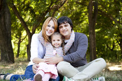 Young Family At Outdoor. Royalty Free Stock Photography
